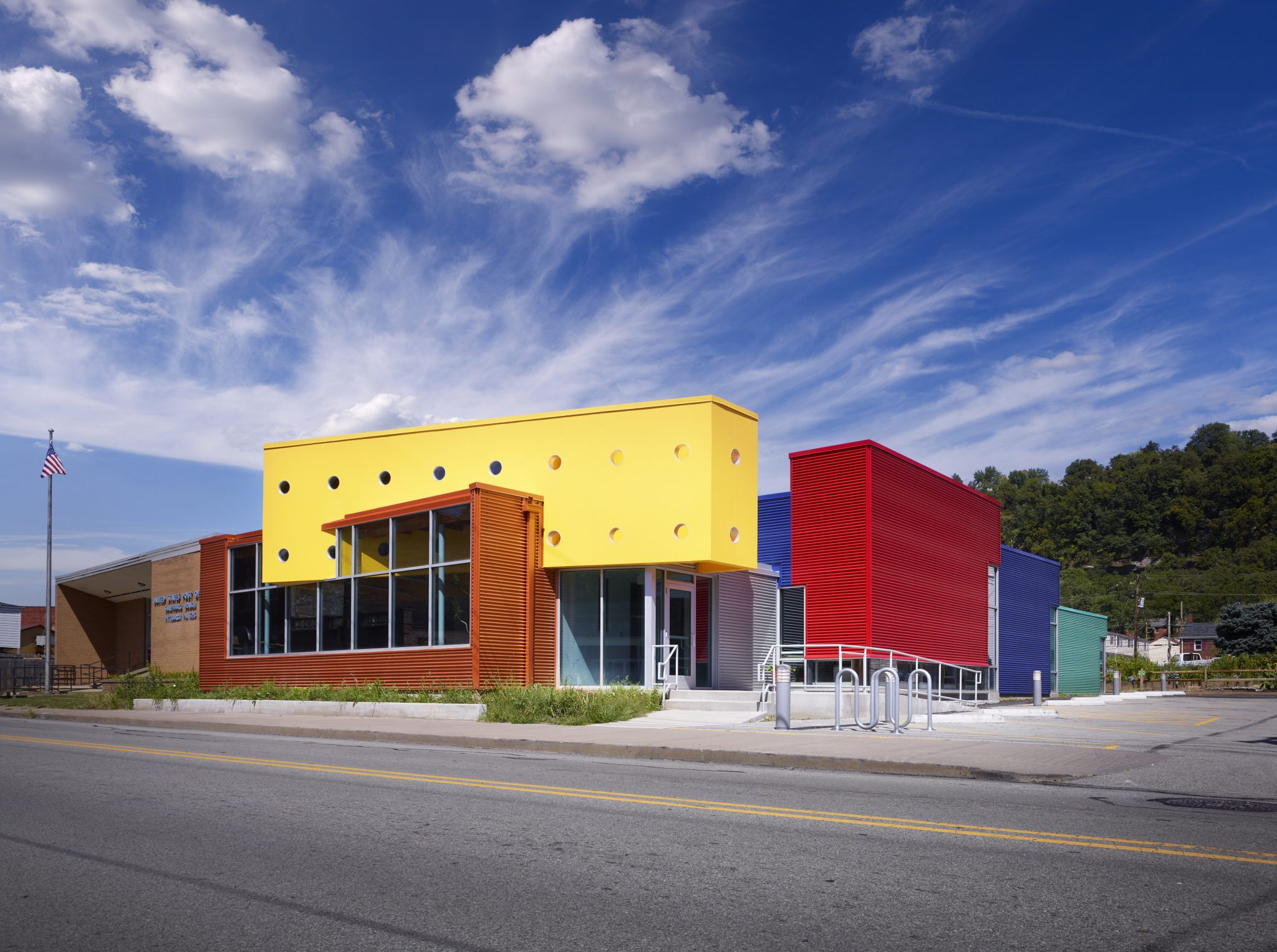 Previously A One Story Concrete Block Building The Sharpsburg Community Library In Pa Is Now Vivid Multi Colored Facility That Has Become